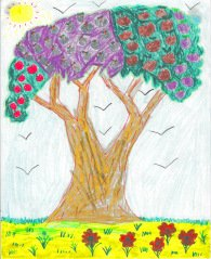 Drawing - By a child, of a tree, birds, flowers